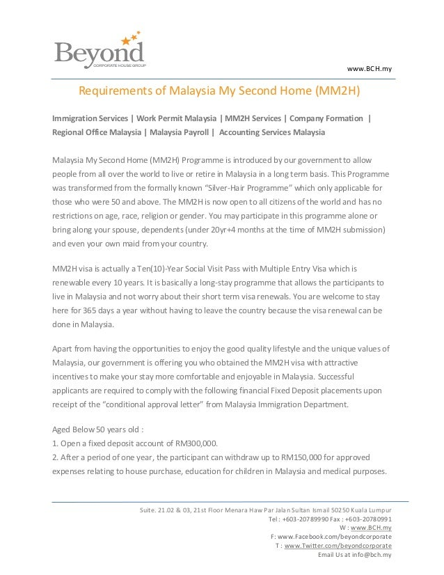 www.BCH.my       Requirements of Malaysia My Second Home (MM2H)Immigration Services | Work Permit Malaysia | MM2H Services...