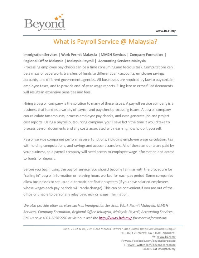 www.BCH.my                   What is Payroll Service @ Malaysia?Immigration Services | Work Permit Malaysia | MM2H Service...