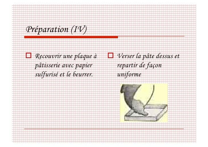 Préparation (IV)   Recouvrir une plaque à      Verser la pâte dessus et    pâtisserie avec papier        repartir de f...