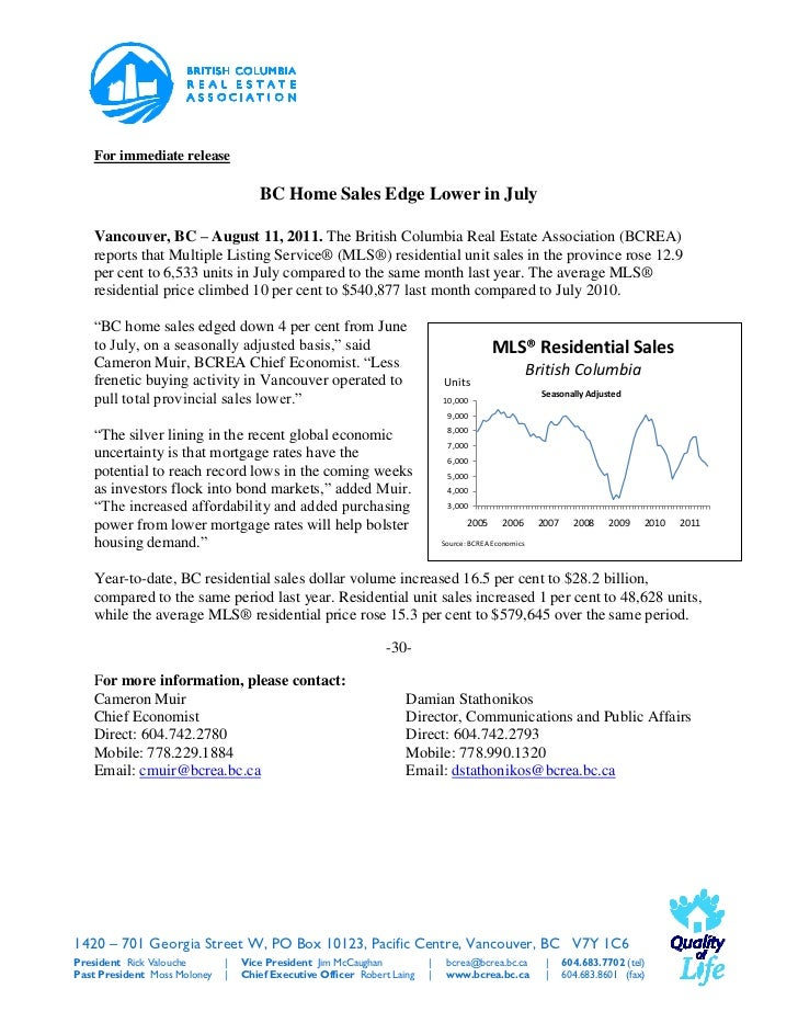 For immediate release                                     BC Home Sales Edge Lower in July   Vancouver, BC – August 11, 20...