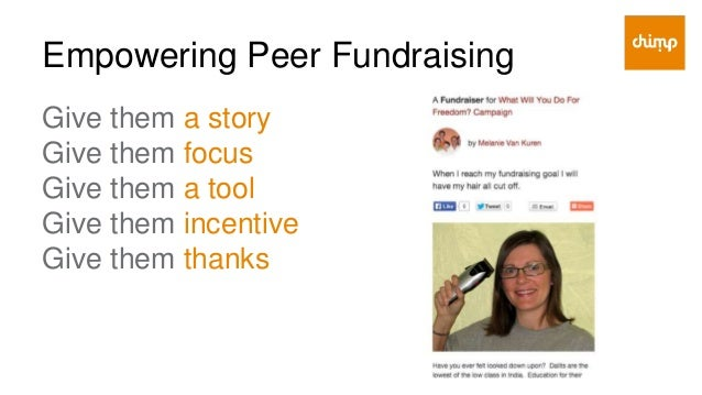 Empowering Peer Fundraising Give them a story ● They can be inspired by ● They can easily communicate themselves ● They ca...