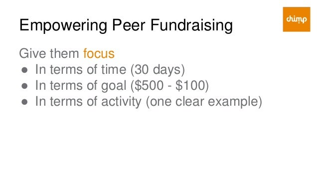 Empowering Peer Fundraising Give them a tool ● That is best for them ● That is best for their donors ● That has low risk f...