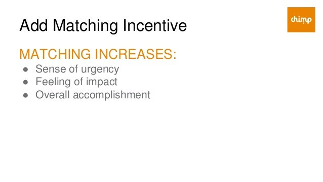 Add Matching Incentive 3 POTENTIAL SOURCES FOR MATCHING FUNDS: 1. Local/small businesses 1. Loyal donors 1. Financial types