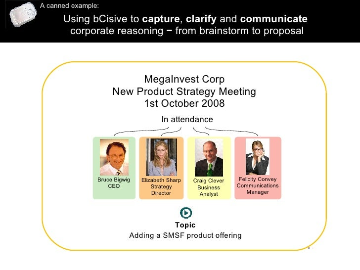 Using bCisive to  capture ,  clarify  and  communicate   corporate reasoning  −  from brainstorm to proposal A canned exam...