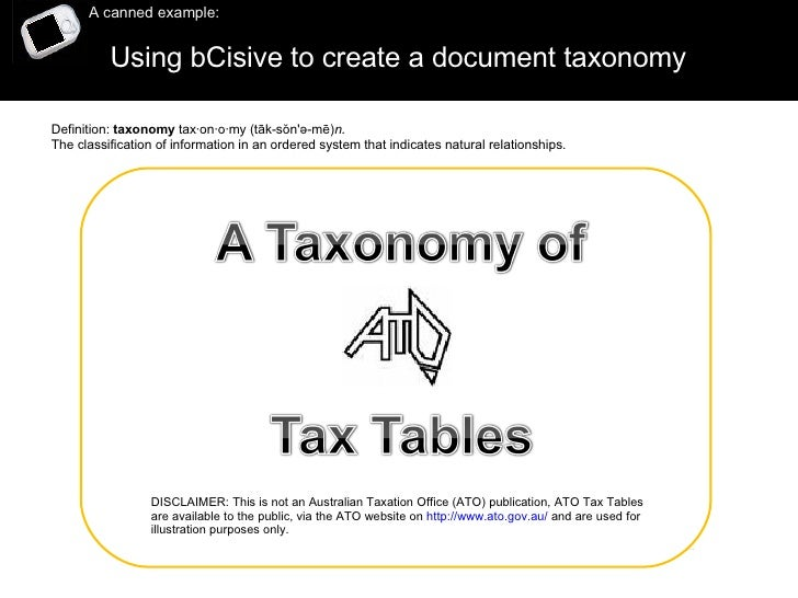 Using bCisive to create a document taxonomy  A canned example: DISCLAIMER: This is not an Australian Taxation Office (ATO)...