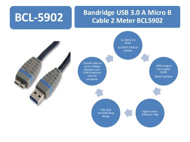 BCL-5902  Bandridge USB 3.0 A Micro B Cable 2 Meter BCL5902 1x USB 3.0 A Male 1x USB 3.0 Micro B Male  Transfer data at up...
