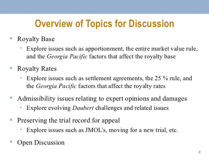 Berkeley Center for Law and Technology Patent Damages Panel Slide 2