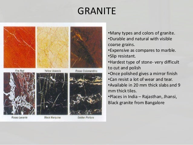 Types Of Stones Used In Flooring MARBLE GRANITE; 28.