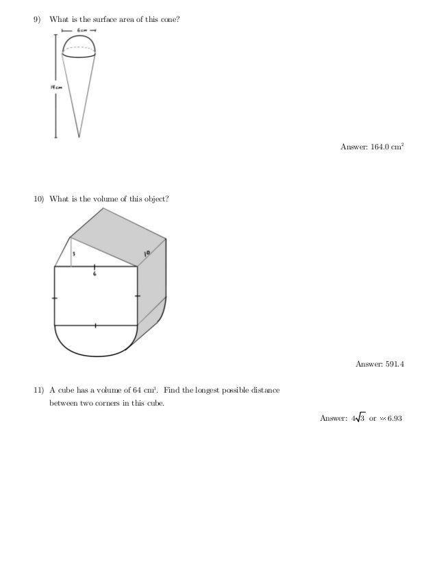 BC Math 10 Surface Area and Volume Practice Test