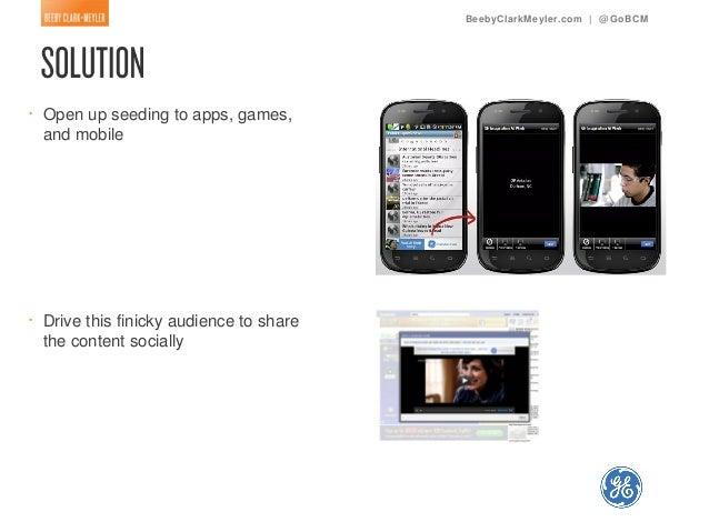 BeebyClarkMeyler.com | @ GoBCM•   Open up seeding to apps, games,    and mobile•   Drive this finicky audience to share   ...