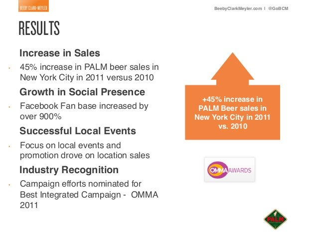 BeebyClarkMeyler.com | @GoBCM!     Increase in Sales!•   45% increase in PALM beer sales in           New York City in 2...
