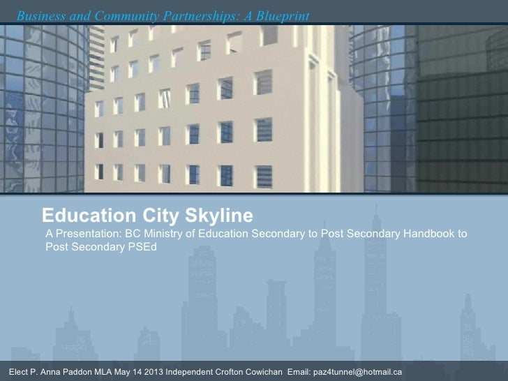 Business and Community Partnerships: A Blueprint       Education City Skyline        A Presentation: BC Ministry of Educat...