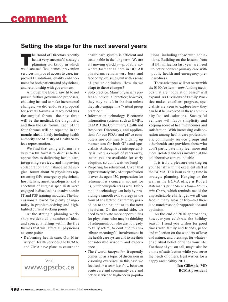British Columbia Medical Journal, December 2010 issue - Setting the stage for the next several years