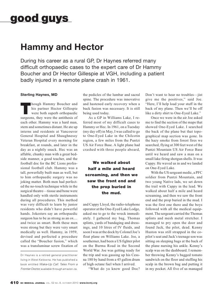 good guys        Hammy and Hector       During his career as a rural GP, Dr Haynes referred many       difficult orthopaed...