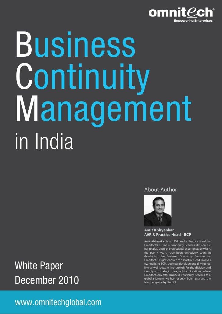 BusinessContinuityManagementin India                         About Author                         Amit Abhyankar          ...