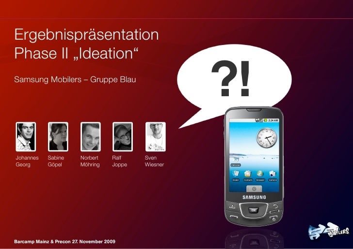 "Ergebnispräsentation Phase II ""Ideation"" Samsung Mobilers – Gruppe Blau                                                   ..."