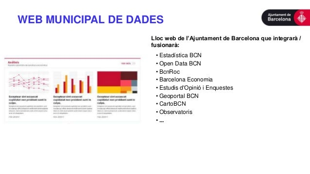 WEB MUNICIPAL DE DADES Lloc web de l'Ajuntament de Barcelona que integrarà / fusionarà: • Estadística BCN • Open Data BCN ...
