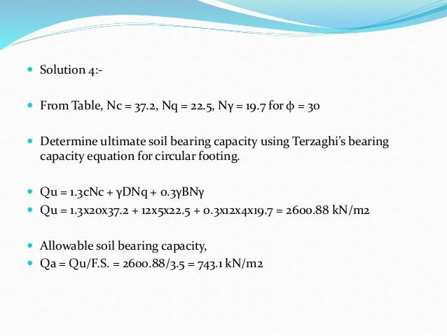  Solution 4:-  From Table, Nc = 37.2, Nq = 22.5, Nγ = 19.7 for φ = 30  Determine ultimate soil bearing capacity using T...