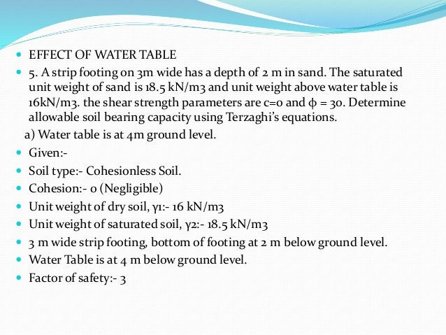  EFFECT OF WATER TABLE  5. A strip footing on 3m wide has a depth of 2 m in sand. The saturated unit weight of sand is 1...