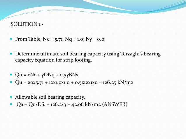 SOLUTION 1:-  From Table, Nc = 5.71, Nq = 1.0, Nγ = 0.0  Determine ultimate soil bearing capacity using Terzaghi's beari...