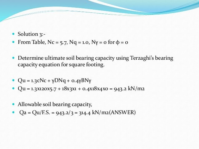  Solution 3:-  From Table, Nc = 5.7, Nq = 1.0, Nγ = 0 for φ = 0  Determine ultimate soil bearing capacity using Terzagh...