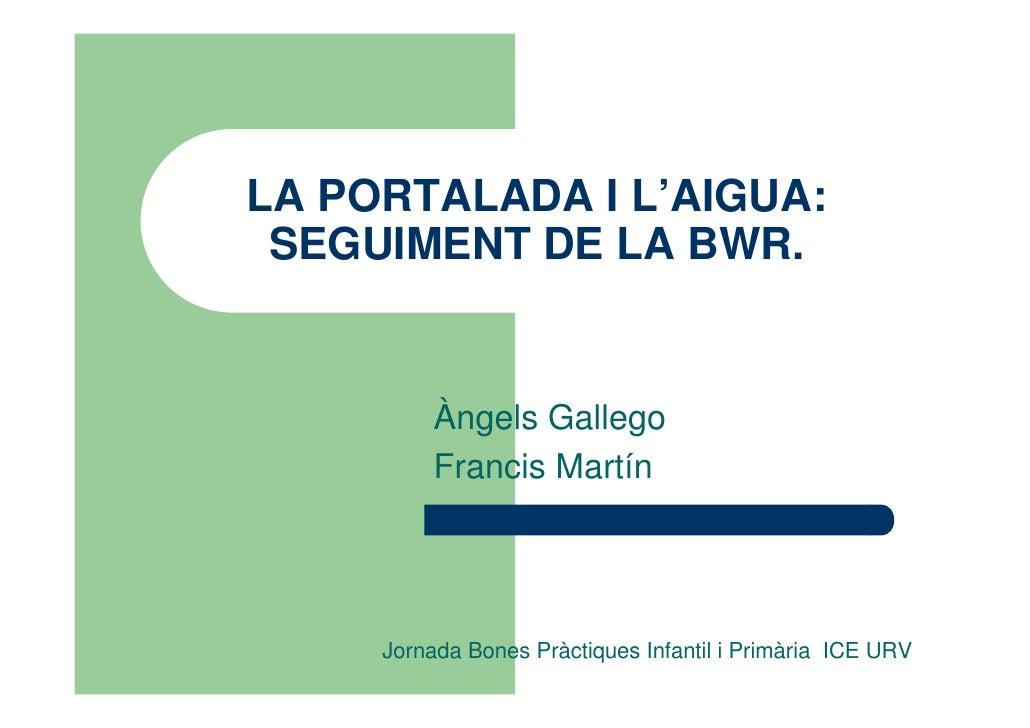 LA PORTALADA I L'AIGUA: SEGUIMENT DE LA BWR.          Àngels Gallego          Francis Martín     Jornada Bones Pràctiques ...