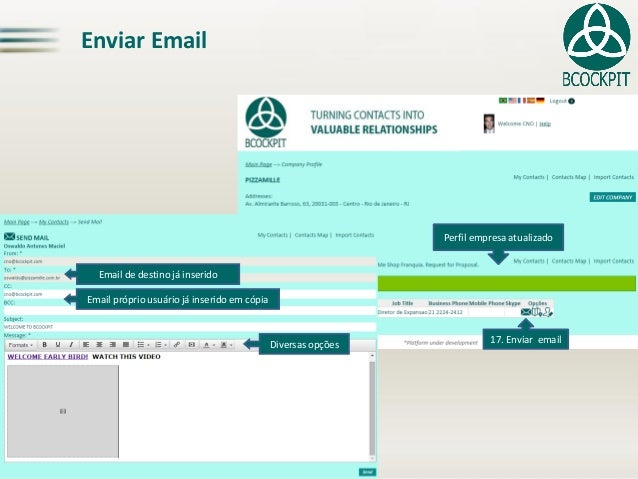 Enviar Email17. Enviar emailPerfil empresa atualizadoEmail próprio usuário já inserido em cópia  Diversas opçõesEmail de d...