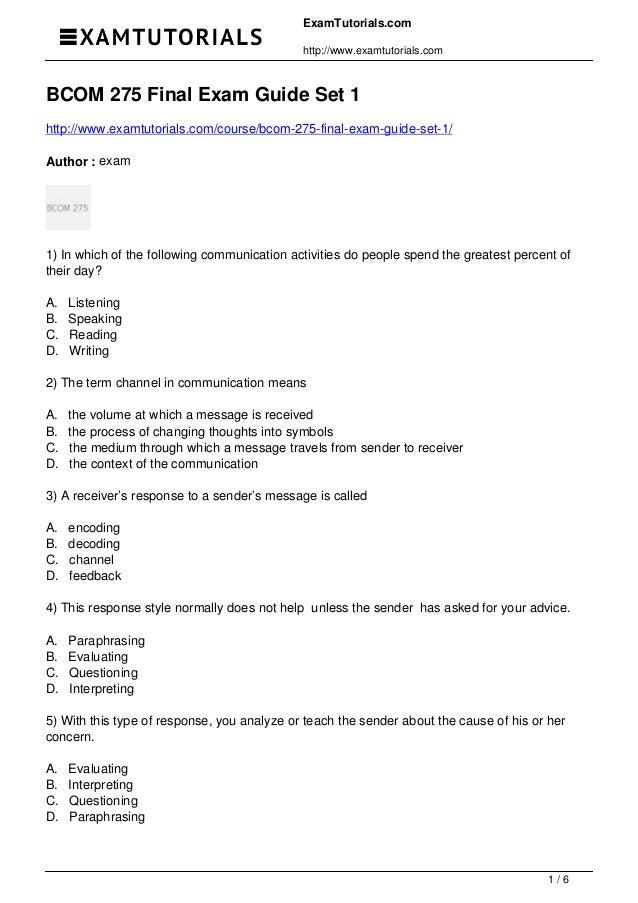 ExamTutorials.com http://www.examtutorials.com BCOM 275 Final Exam Guide Set 1 http://www.examtutorials.com/course/bcom-27...