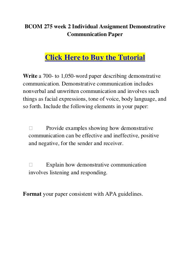 BCOM 275 Week 2 Individual Assignment