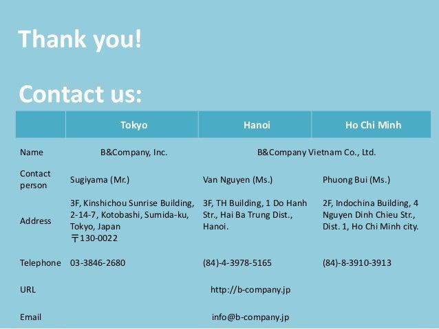 Thank you! Tokyo Hanoi Ho Chi Minh Name B&Company, Inc. B&Company Vietnam Co., Ltd. Contact person Sugiyama (Mr.) Van Nguy...