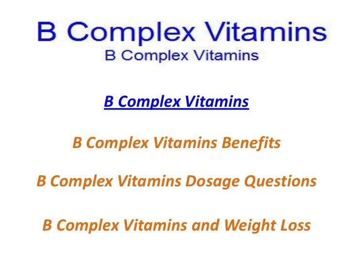 b vitamin complex for weight loss