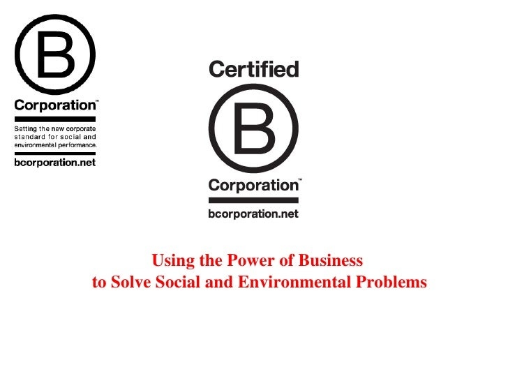 Using the Power of Business  to Solve Social and Environmental Problems