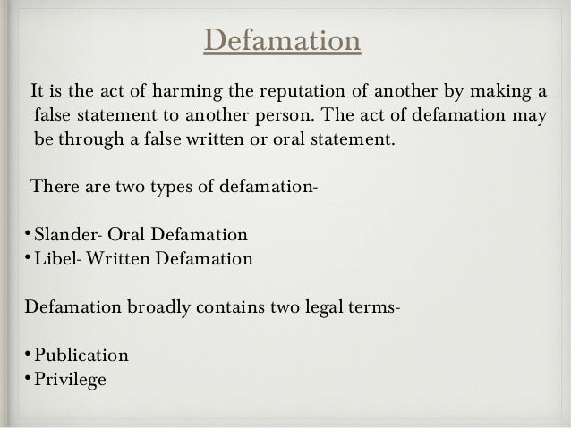 business communication and legal issues defamation