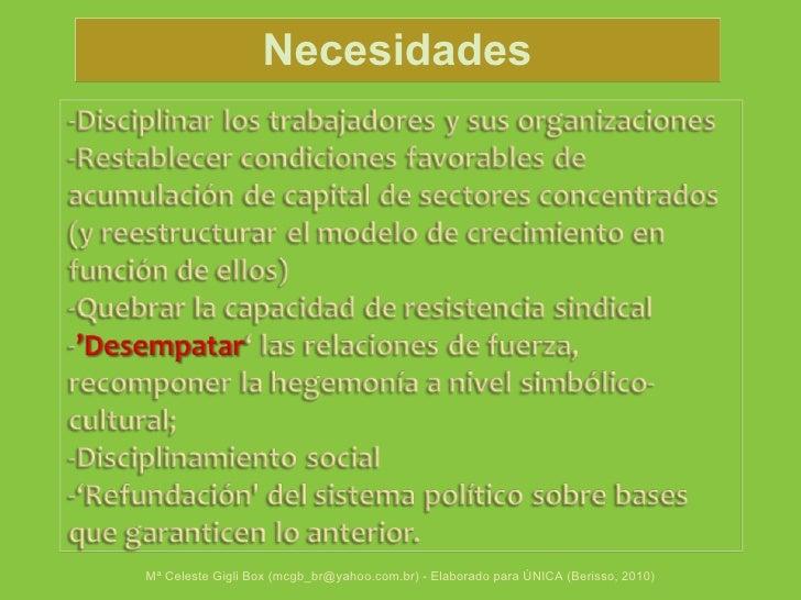 Mª Celeste Gigli Box (mcgb_br@yahoo.com.br) - Elaborado para ÚNICA (Berisso, 2010) Necesidades