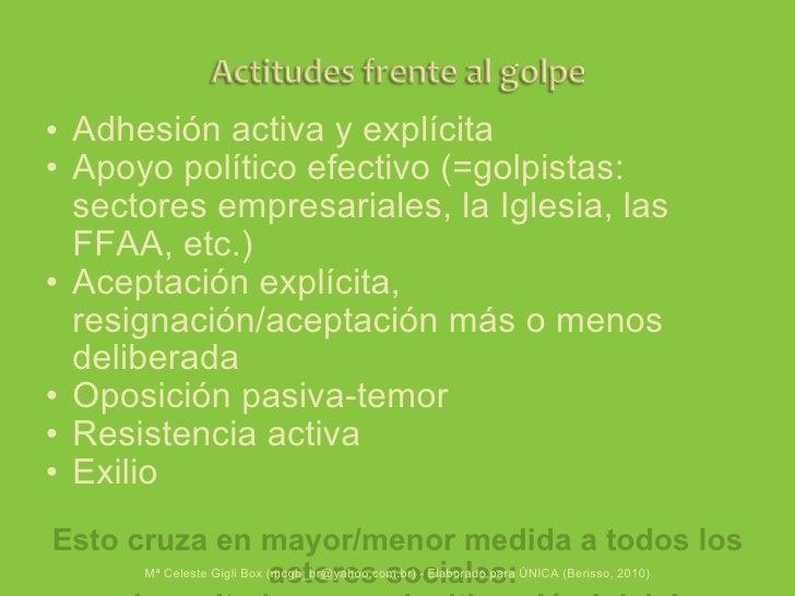 <ul><ul><li>Adhesión activa y explícita </li></ul></ul><ul><ul><li>Apoyo político efectivo (=golpistas: sectores empresari...