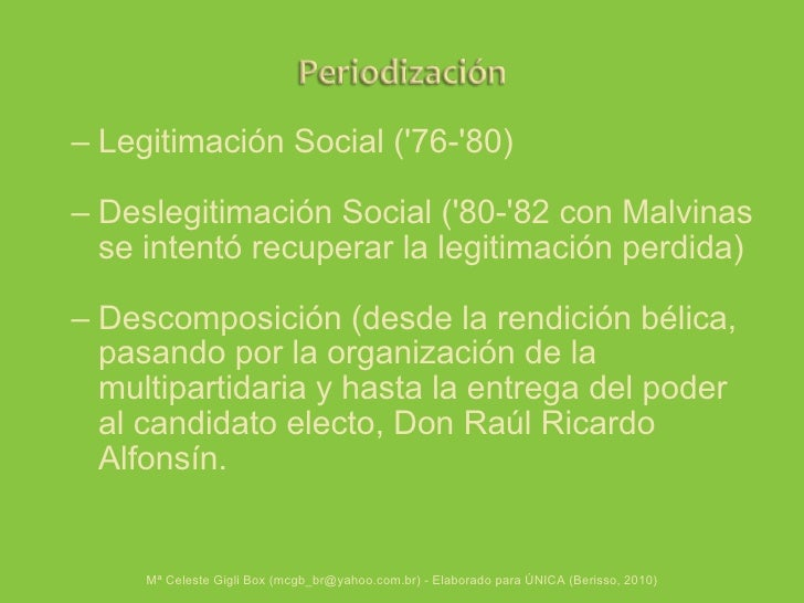 <ul><ul><li>Legitimación Social ('76-'80) </li></ul></ul><ul><ul><li>Deslegitimación Social ('80-'82 con Malvinas se inten...