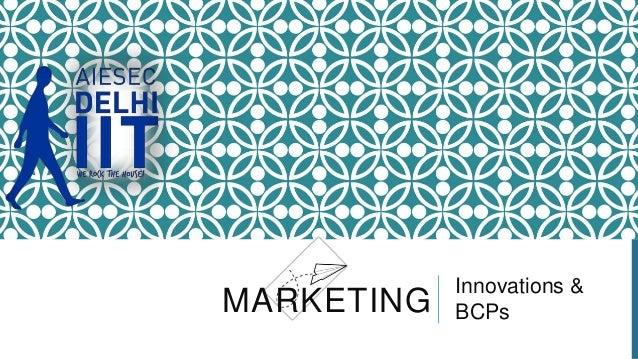 MARKETING  Innovations & BCPs