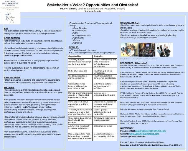 Stakeholder's Voice? Opportunities and Obstacles!                                                                Paul W. G...