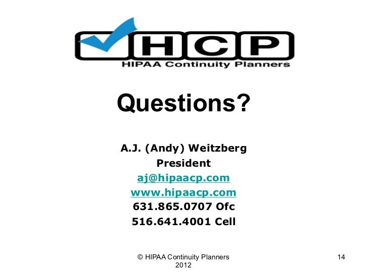 HIPAA Business Continuity Planning