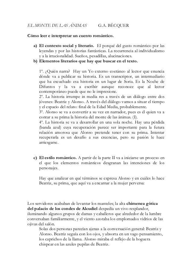 EL MONTE DE LAS ÁNIMAS                   G.A. BÉCQUERCómo leer e interpretar un cuento romántico.   a) El contexto social ...
