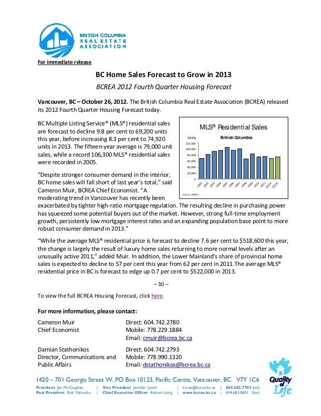 For immediate release                               BC Home Sales Forecast to Grow in 2013                               B...