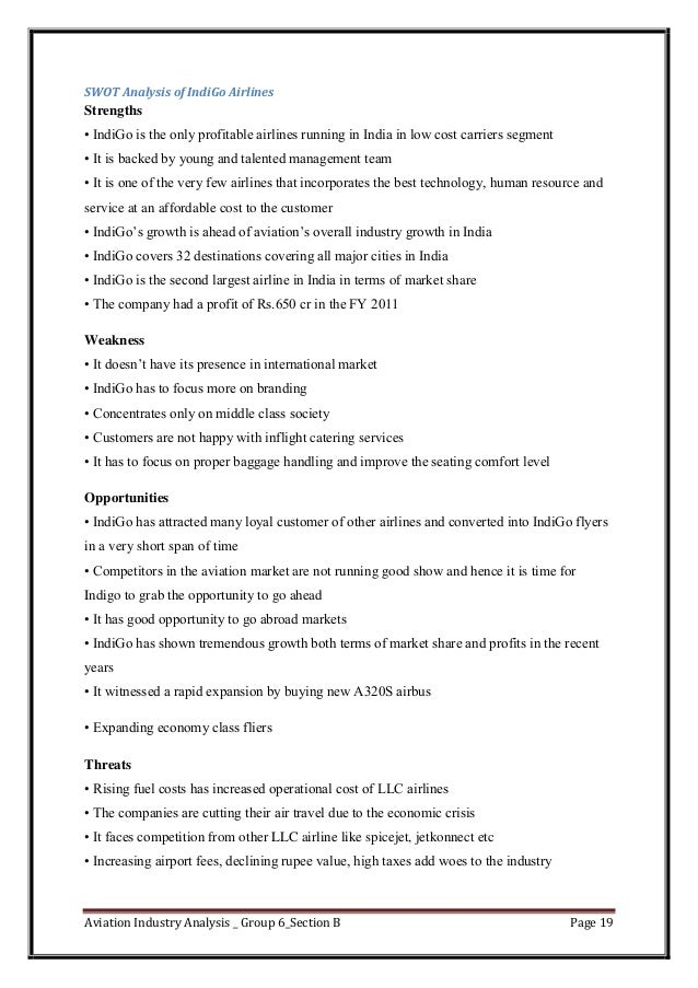 swot analysis indigo airlines Essay on porter airlines literature review 4 21 general introduction of theories used 4 22 swot analysis 4 mission statement indigo airlines.
