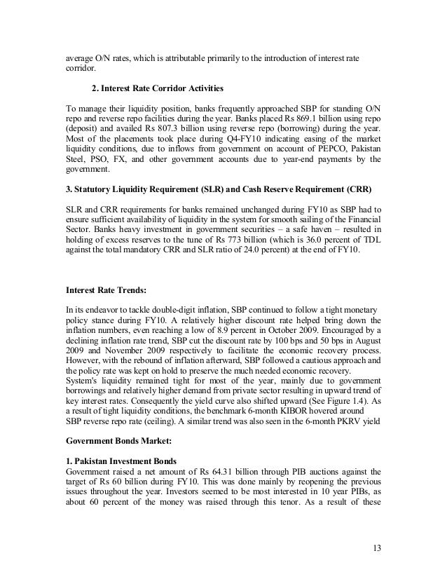 liquidity management via interest rate corridor in pakistan Liquidity management under market turmoil:  the level of the key policy interest rates at its monthly policy meeting (held every month) the main policy rate is the minimum bid rate (mbr) in the ecb's weekly  dampening its volatility since april 1999, the gc of the ecb has set the interest rate corridor in a symmetric manner, with a.
