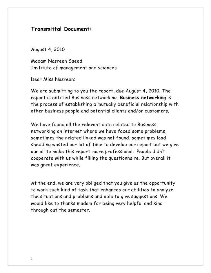 Transmittal Document:August 4, 2010Madam Nasreen SaeedInstitute of management and sciencesDear Miss Nasreen:We are submitt...