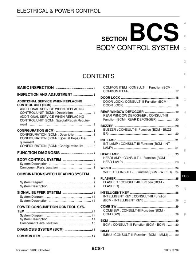 ELECTRICAL & POWER CONTROL  SECTION  BCS  BODY CONTROL SYSTEM  A  B  C  D  E  CONTENTS BASIC INSPECTION .....................