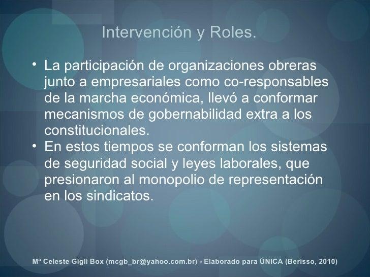 <ul><ul><li>La participación de organizaciones obreras junto a empresariales como co-responsables de la marcha económica, ...