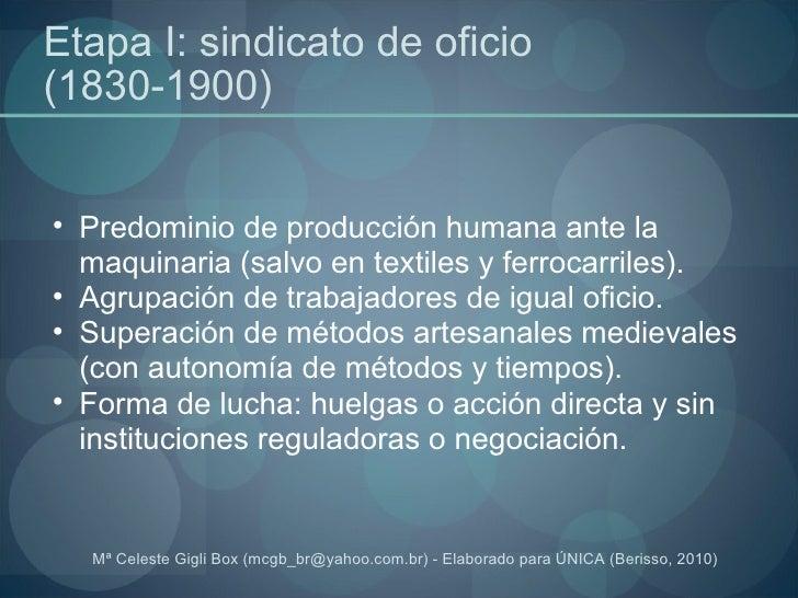 Etapa I: sindicato de oficio (1830-1900) <ul><ul><li>Predominio de producción humana ante la maquinaria (salvo en textiles...