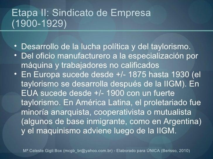 Etapa II: Sindicato de Empresa (1900-1929) <ul><ul><li>Desarrollo de la lucha política y del taylorismo. </li></ul></ul><u...
