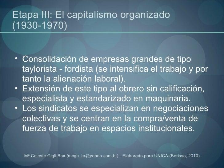 Etapa III: El capitalismo organizado (1930-1970) <ul><ul><li>Consolidación de empresas grandes de tipo taylorista - fordis...