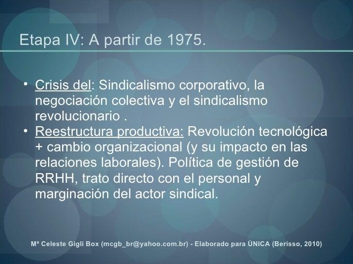 Etapa IV: A partir de 1975.  <ul><ul><li>Crisis del : Sindicalismo corporativo, la negociación colectiva y el sindicalismo...